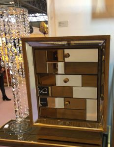 Rivelin Wood and Mirrored 3 Drawer Side Chest