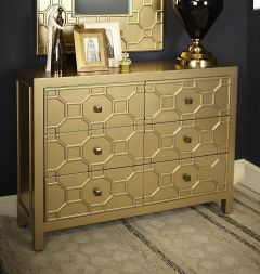 Gold Geometric Wood 6 Drawer Chest of Drawers