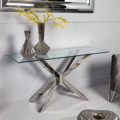Rosa Glass & Chrome Console Table