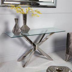 Rosa Glass & Chrome Console Table