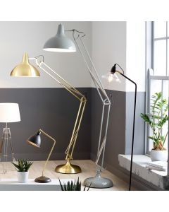 Round Shade Grey Painted Metal Task Floor Lamp