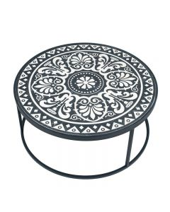 Safi Antique Black & Cream Wood & Iron Coffee Table