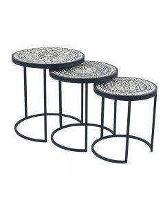 Safi Antique Black & Cream Wood & Iron Set of 3 Side Tables