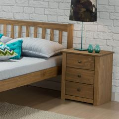 Santi Distressed Pine 3 Drawer Bedside