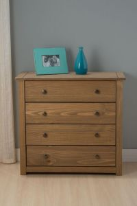 Santi Distressed Pine 4 Drawer Chest