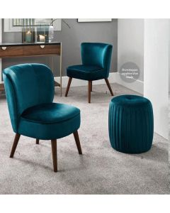 Sapphire Blue Velvet Chair with Walnut Finished Legs