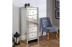 Savannah Mirrored 5 Drawer Tallboy