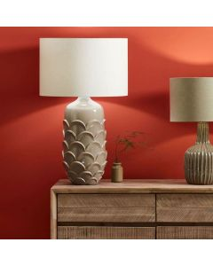 Scalloped Grey Stoneware Table Lamp - Base Only