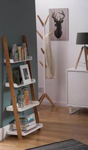 Scandinavian Inspired Bamboo Ladder Shelving