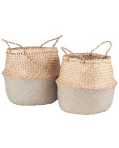 Set of 2 Flat weave 2-Tone Seagrass Handled Baskets