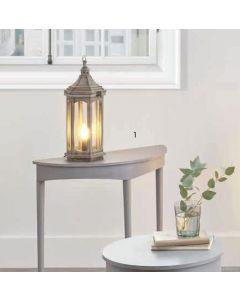 Shabby Chic Grey Antique Wood Lantern Table Lamp