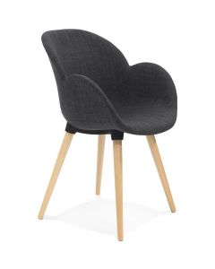 Sigrid Dark Grey Fabric Round Curve Chair
