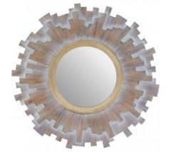 Sigrun Grey Multilevels Wooden Wall Mirror