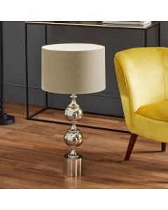 Silver Aluminium Tall Footed Table Lamp - Base Only