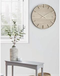 Simplistic Gold Metal and Natural Wood Round Wall Clock