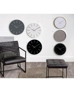 Simplistic Matt Black and Gold Detail Round Metal Wall Clock