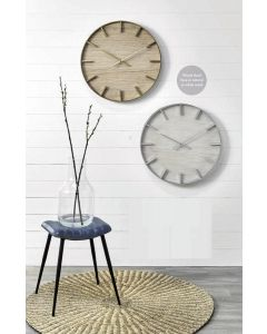 Simplistic Silver Metal and White Wash Wood Round Wall Clock