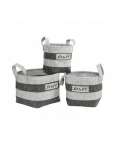 Striped Set of 3 Storage Trunks - Stuff Text