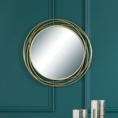 Swirls Wire Gold Wall Mirror