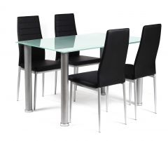 Tattum Frosted Dining Table and 4 Chairs