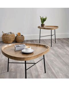 Teardrop Oak Effect and Black Metal Coffee Table