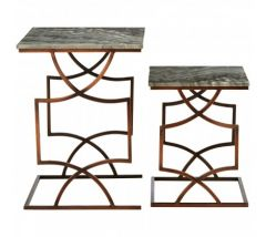 Templar Black Iron Set of 2 Square Side Tables