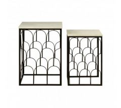 Trinity Set of 2 Marble Top Side Tables