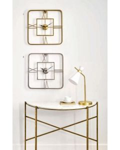 Tristo Gold Metal Square Wall Clock