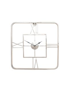 Tristo Silver Metal Square Wall Clock