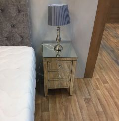 Turia Mirrored 3 Drawer Bedside Chest