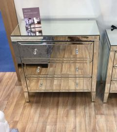 Turia Mirrored 3 Drawer Chest of Drawers