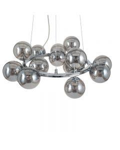 Vecchio Smoke Glass Ball and Chrome Metal Pendant