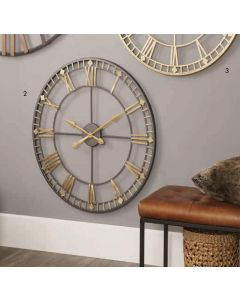 Veronica Distressed Bronze & Gold Metal Round Wall Clock