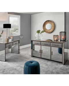 Vintage Metal With Velvet and Mirrored Sideboard
