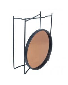 Voss Matt Black Wood & Metal Side Table Copper Glass