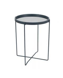 Voss Matt Black Wood Veneer Side Table with Foxed Glass