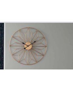 Mason Antique Gold Metal Geo Design Round Wall Clock