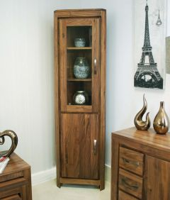 Walnut Glazed Corner Display Cabinet