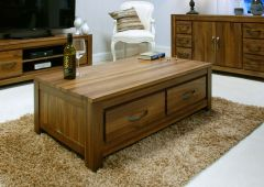 Walnut Low Four Drawer Coffee Table