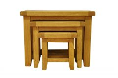 Waxed Oak Finish Nest of 3 Tables