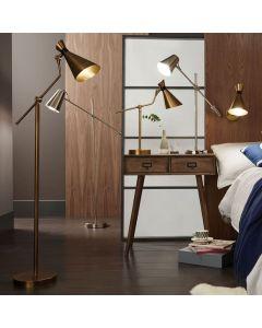 Wendell Antique Brass Adjustable Conical Metal Floor Lamp