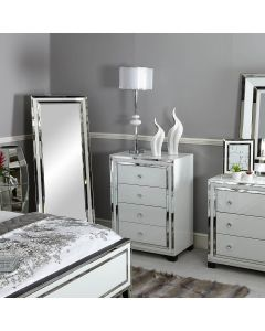 White Glass and Mirrored New York 4 Tallboy