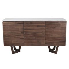 White Marble & Brown Acacia Wood Sideboard