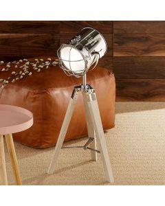 White Wash Wood & Silver Metal Tripod Table Lamp
