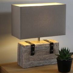 Wooden Heavy Cotton Shade Table Lamp