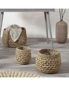 Woven Natural Seagrass and Water Hyacinth Set of 3 Round Baskets