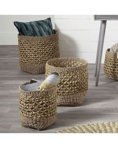 Woven Natural Seagrass and Water Hyacinth Set of 3 Tall Round Baskets