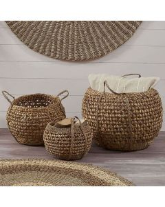 Woven Water Hyacinth Set of 3 Handled Round Baskets