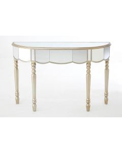 Mirrored French Champagne Half Moon Console Table