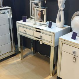 White Glass And Mirrored New York 3 Drawer Chest Zurleys